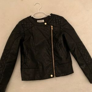 Girls H & M faux leather moto jacket size 8-9